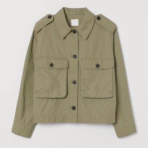 H&M Army Green Straight Cut Utility Button Jacket